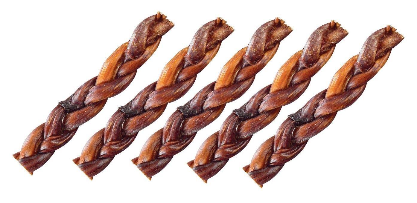 Braided Beef Bully Sticks Dog Treats Natural Smoked Lasting Dental Chews 7'' Long(25 Bully Sticks)