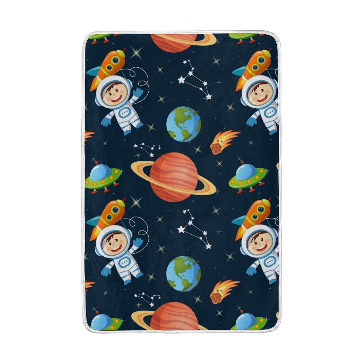 Vantaso Soft Blankets Throw Kids Astronaut Rocket Planets Earth Blue Microfiber Polyester Blankets for Bedroom Sofa Couch Living Room for Kids Children Girls Boys 60 x 90 inch