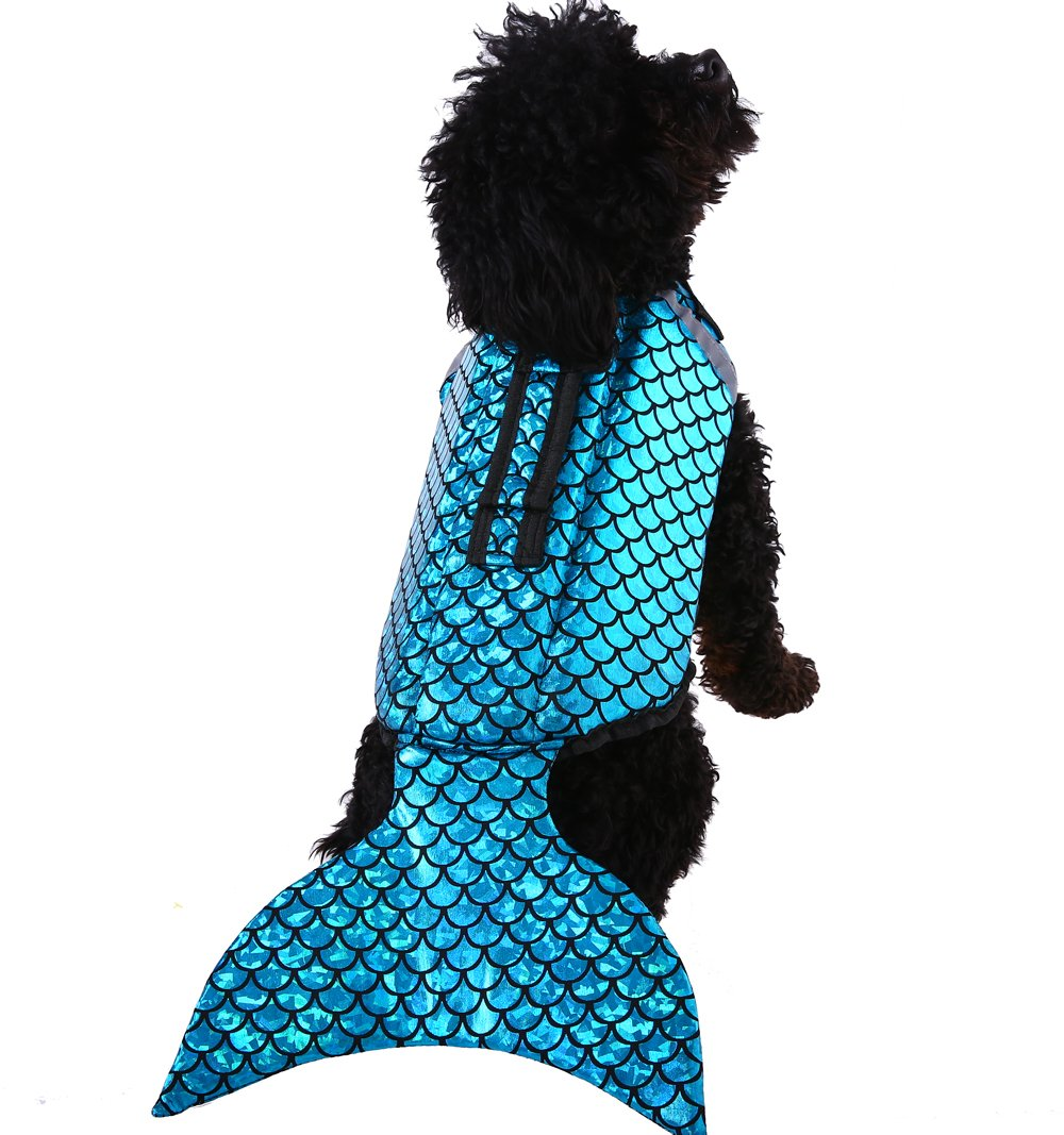 QBLEEV Reflective Stripes Dog Life Vest,Pet Floatation Jacket Float Coat by, Quick Release Lifesaver Preserver Swimming Suit Adjustable Belt Harness Pool Boat (Blue XL)