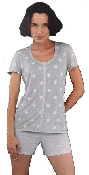 Massana - Pijama Mujer Massana Manga Corta Primavera Verano abierto con botones - GRIS VIGORE,