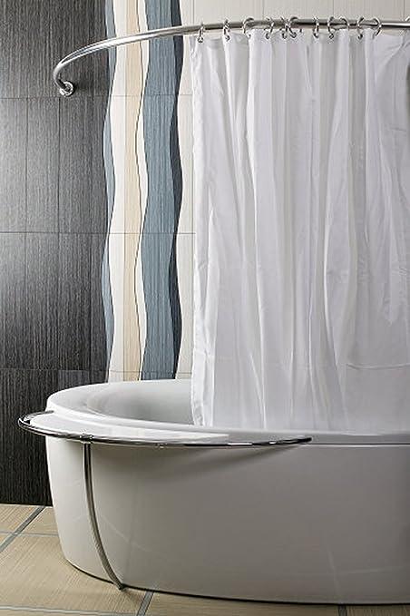 One Piece Shower Curtain Rod Arc 80 X Weiss ALU Eckduschstange Oval