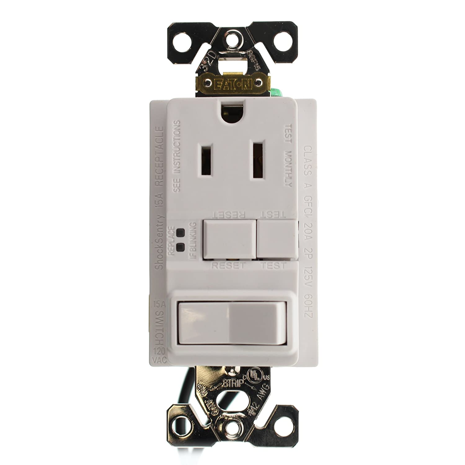 Hubbell GFSPST15WZ Combo GFCI Outlet & 1P Switch, Self-Test, 15-Amp ...