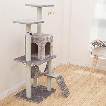 MERRYHOME Árbol de Gato de 2 Plataformas con Poste para Arañar Gato de Mascota Arco Rascador Actividad Árbol Gato Trepador Árbol de Torre de Juego: ...