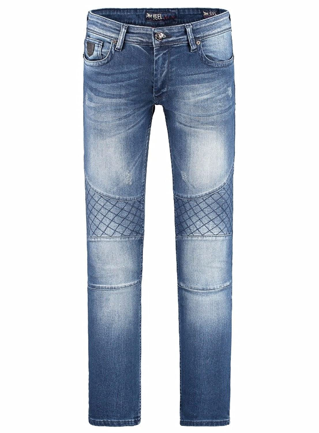 JEEL Men&39s Skinny Stretch Jeans with Cross Stitching on sale