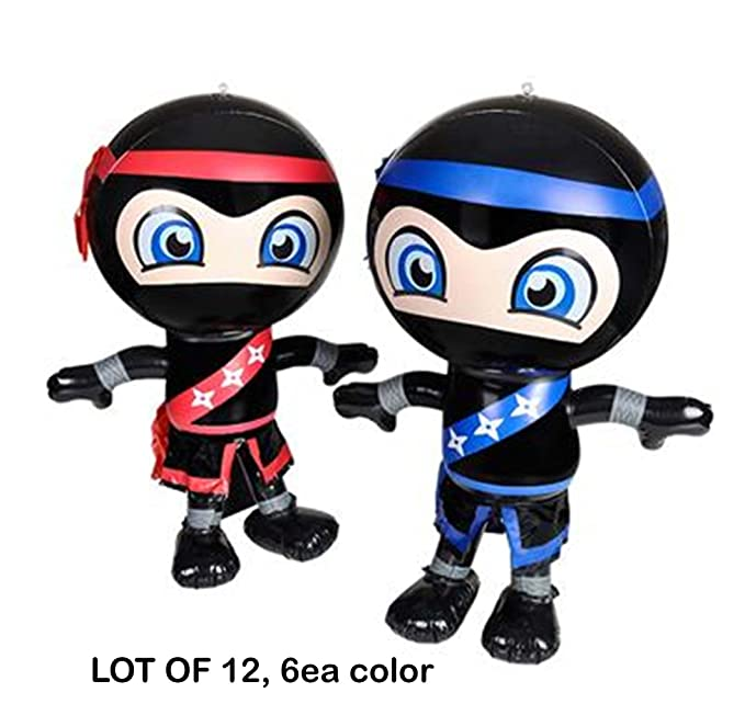 Amazon.com: (LOT OF 12) Ninja Inflatables, 6 red and 6 blue ...