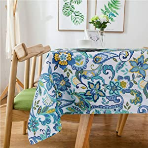 "Lamberia Tablecloth Waterproof Spillproof Polyester Fabric Table Cover for Kitchen Dinning Tabletop Decoration (Paisley, 60""x104"")"