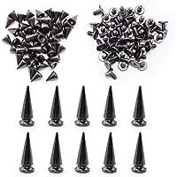 WJUAN 50 stuks hoogte 9,5 mm metalen kegel Punk klinknagels en 10 stuks hoogte 24 mm spikes klinknagel Punk, DIY Craft…