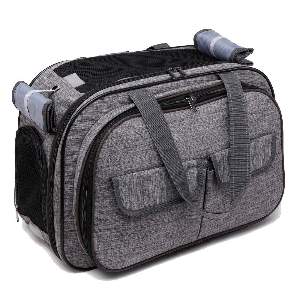 EDYUCGA Pet Bag Retractable Folding Dog And Cat Expansion Bag Cat Kit Dog Travel Out To Take A Trip Package,Grey-S