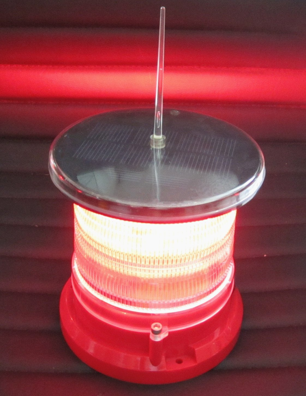 Solar Dock High Power Warning Light - Waterproof Marine Solar Dock Lighting - RED LED Constant or Flashing 360 Degree Lighting