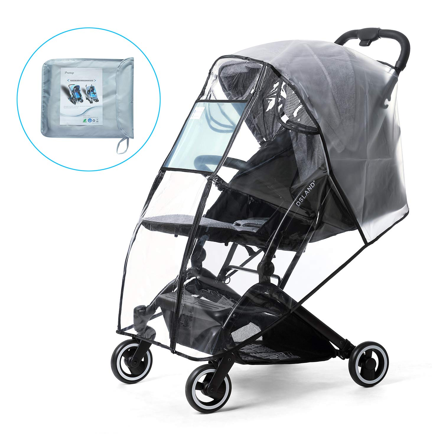 Rain Cover for Stroller, Prettop Universal Baby Jeep Jogging Stroller Weather Shield Accessories with Storage Pouch, Clear Windproof Waterproof Travel Umbrella Cover for Pram,Outdoor Use (Air Holes)