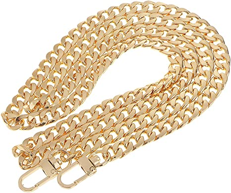 Gnognauq 47 Purse Chain Strap 8mm Width Flat Chain Strap Handbag Chains with Metal Buckles for Clutch Wallet Satchel Tote Bags Shoulder Bag Chain Replacement Strap