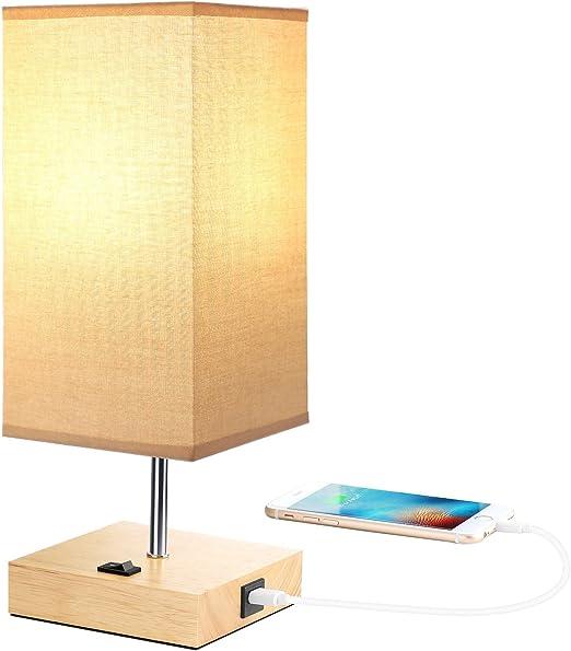 couleur attrayante acheter bien haute couture Lampe de chevet vintage en bois avec port USB (5 V/2,1 A ...