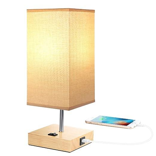Noche Lámpara de mesa Madera Vintage lámpara de mesa USB ...