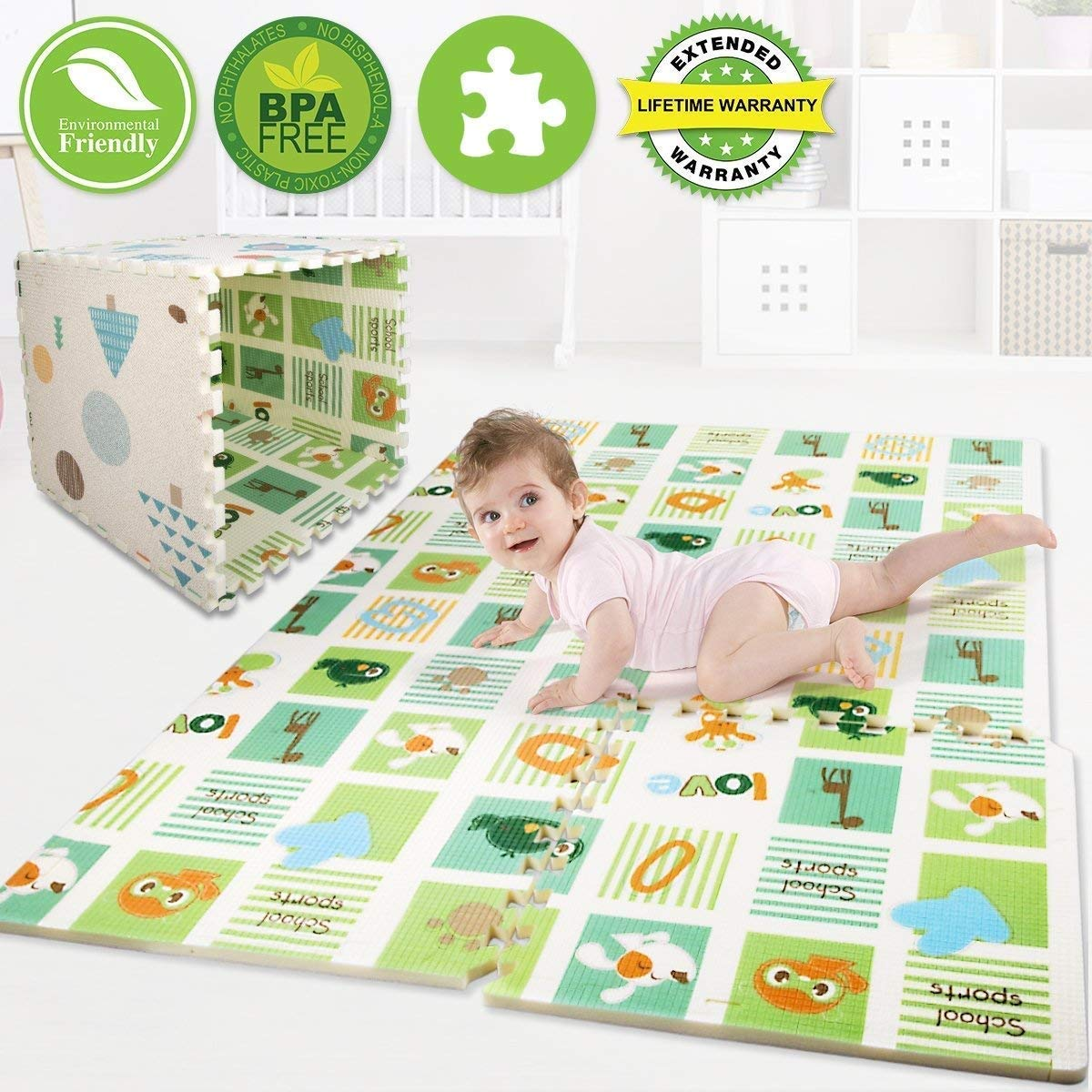 Children Rugs Kids Carpet, Premium XPE Puzzle Play Mats Non Toxic, Reversible Thick Baby Crawling Rugs Interlocking Tiles with Borders Play Room Nursery Playing Mat Toddler Infant Exercise Game Mat
