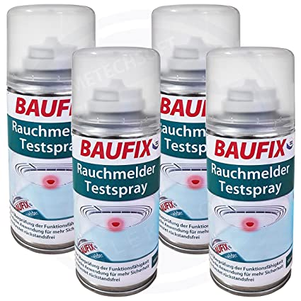 4 x BAUFIX Detector de humo prueba Spray 150 Ml total 600 ml Transparente