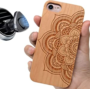 iProductsUS Sunflower Phone Case Compatible with iPhone Se (2020), iPhone 8, 7, 6/6S and Magnetic Mount, Wooden Cases Engraved Mandala Flower Built-in Metal Plate, TPU Protective Cover (4.7 inch)