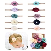 Baby Girl Headbands flowers,10 Pack Hair Bows Accessories for Newborn Infant Toddler Gift