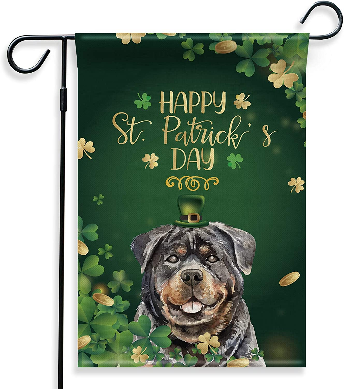 BellowDeer Rottweiler Dog Shamrocks Happy St Patrick's Day Double-Sided Yard Garden Flag Decor for Dog Lover, Dog Owner, Friend, House Yard Garden Indoor Outdoor Decoration