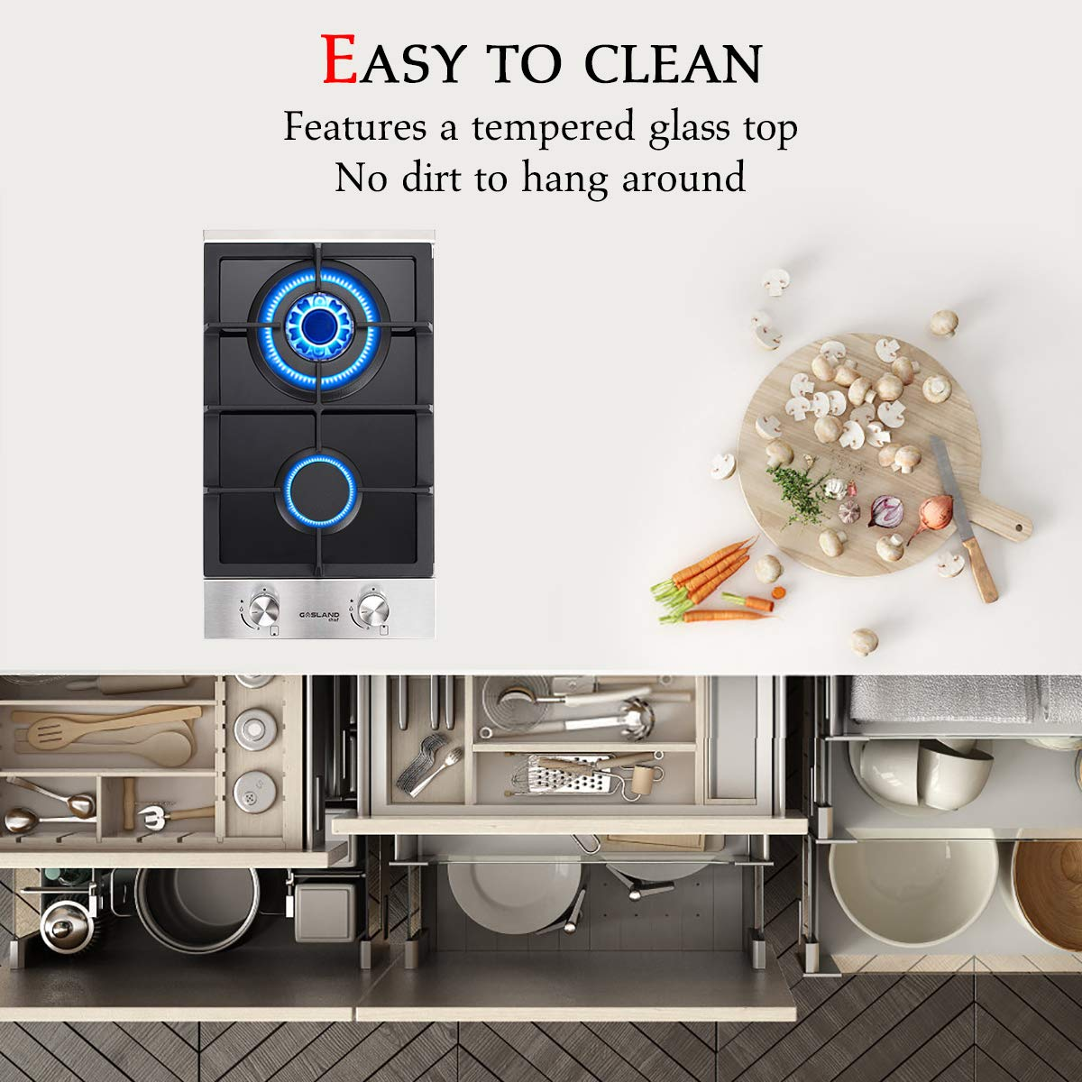 Gas Stove Top With 2 Sealed Burners ETL Safety Certified Gasland chef GH30SF Built-in Gas Stove Top Gas Cooktop Thermocouple Protection Easy To Clean Stainless Steel LPG Natural Gas Cooktop 12