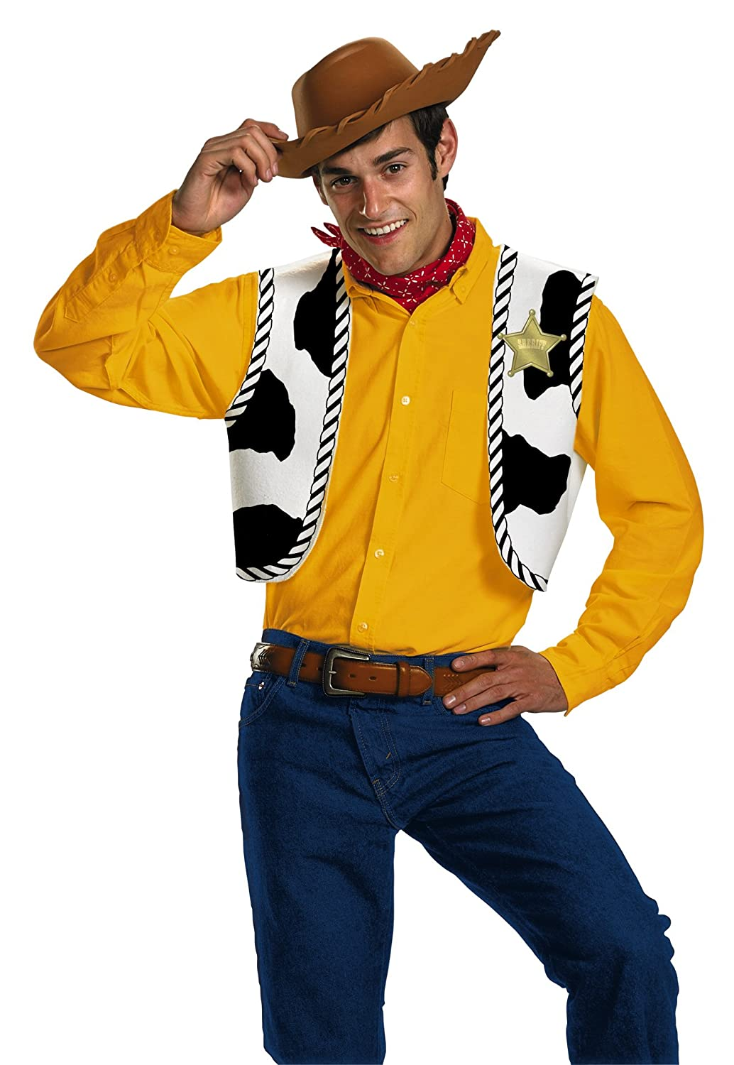 Disney Disguise Men's Pixar Toy Story and Beyond Woody Adult Costume Kit Yellow/Black/White/Brown One Size Disguise Costumes 23433
