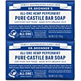 Dr. Bronner's - Pure-Castile Bar Soap (Peppermint, 5 ounce) - Made with Organic Oils, For Face, Body and Hair, Gentle and Moi