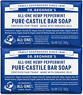 product image for Dr. Bronner's - Pure-Castile Bar Soap (Peppermint, 5 ounce) - Made with Organic Oils, For Face, Body and Hair, Gentle and Moisturizing, Biodegradable, Vegan, Cruelty-free, Non-GMO (5 Ounce, 2-Pack)