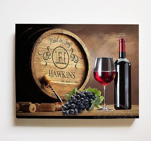 MuralMax Personalized Napa Valley Wine Barrel Canvas Wall Decor - Milestone  for Parents, Grandparents, Newlyweds, Bridal Showers, Office Retirement