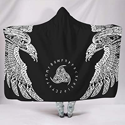 Festhad Norse Viking Raven Knot Huginn and Muninn Horn of Odin Scandinavian Runes Tattoo Print Hooded Blankets Ethnic Soft Throws with Hood Teens Studying White 60x80 inch: Home & Kitchen