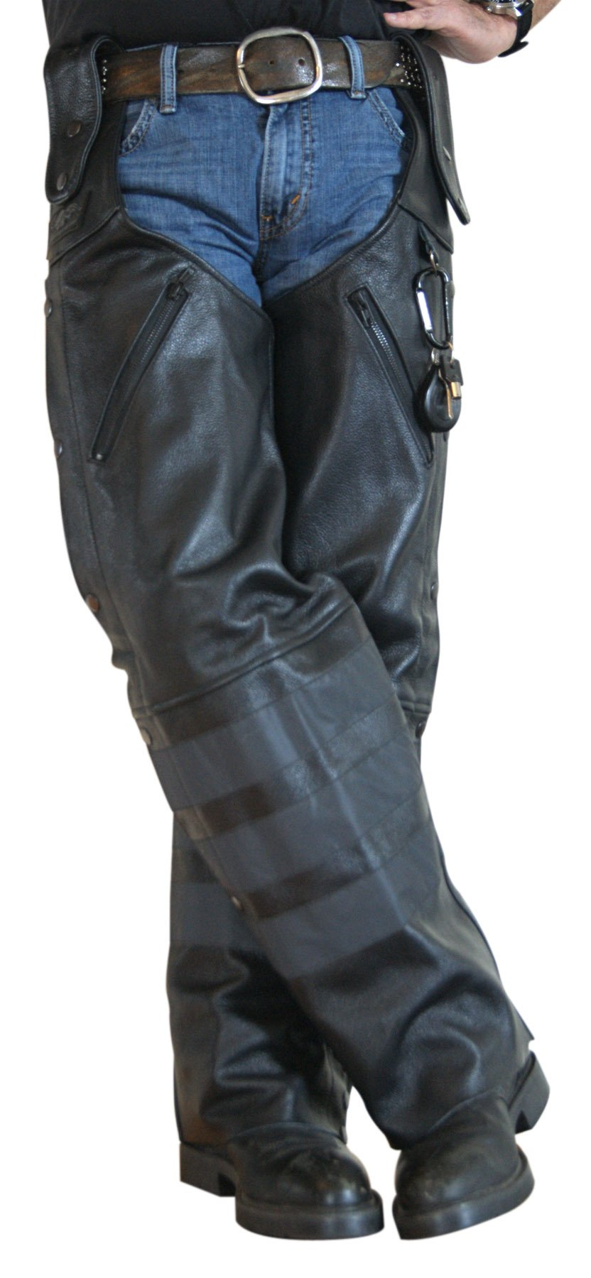 Missing Link Black Ops Leather Hook Chaps (Black, XX-Large)
