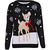 Red Olives® Womens Baby Reindeer Christmas Jumper Kids Unisex Bambi Deer Xmas Knitted Top 7/8 Years-M/L