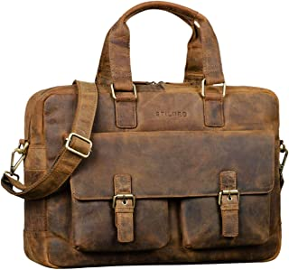 STILORD 'Alonso' Vintage Businesstasche Echtleder Große Aktentasche Arbeitstasche für Herren Damen 15.6 Zoll Echtes Leder, Farbe:dunkel - braun