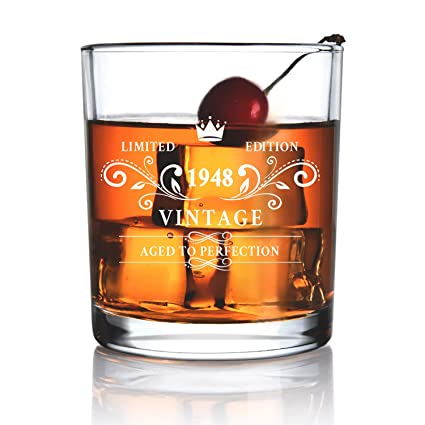 1948 70th Birthday Gift For Men And Women Whiskey Glass Anniversary Gifts
