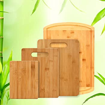 4-Pieces Bamfitwell Bamboo Cutting Board Set with Juice Groove