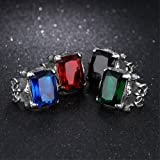 FEDONA Vintage Large Crystal Stainless Steel Dragon Claw Cross Ring Band Gothic Biker Knight Silver Band Ring