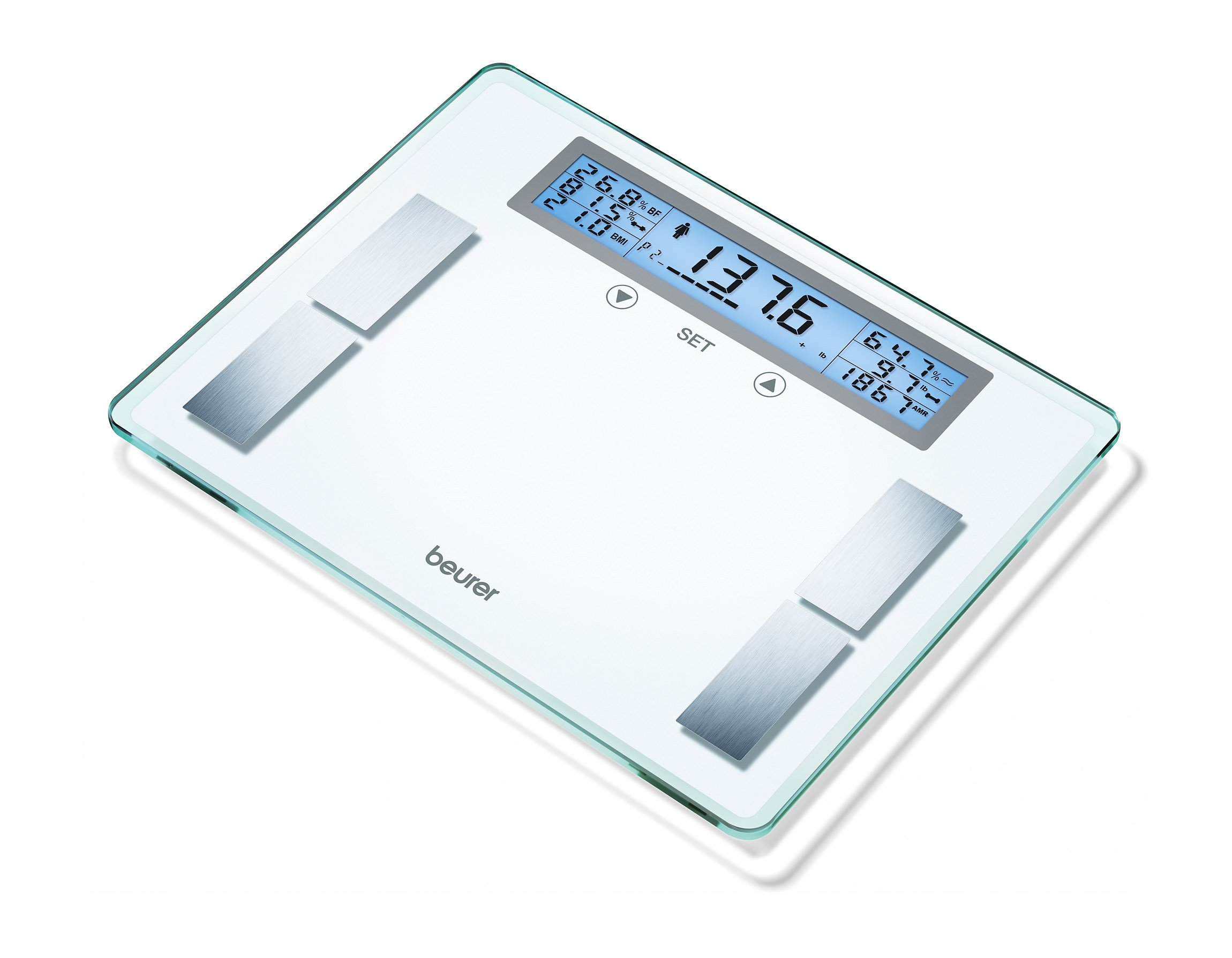 Beurer Body Analyzer Scale XXL Extra Wide Platform & LCD Illuminated Display, Multi-User Weight Management Scale Calculates BMI, Heavy Duty, BF520 by Beurer