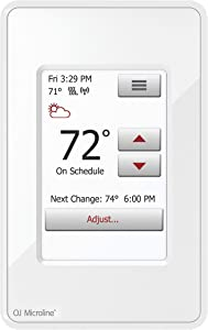 OJ Microline Radiant Floor Heating Thermostat, Smart Wifi Programmable Thermostat with GFCI, Dual Sensing, Dual Voltage, with Intuitive Touch Screen Interface, UWG4-4999, Includes Floor Sensor