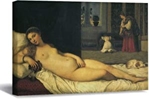 """Venus of Urbino by Titian Renaissance Art Canvas Picture Painting Artwork Wall Art Poto Framed Canvas Prints for Bedroom Living Room Home Decoration, Ready to Hanging 8""""x12"""""""
