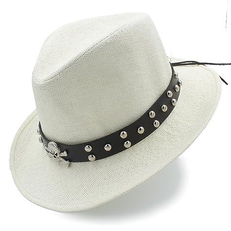 Classic Straw Western Sombrero Cowboy Hat Punk Belt Funny Party Cap (Color    Cream a000e85b43e