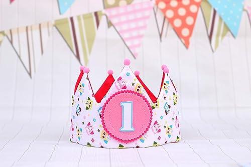 Corona de tela cumpleaños niña regalo 1 cumpleaños bebé ...