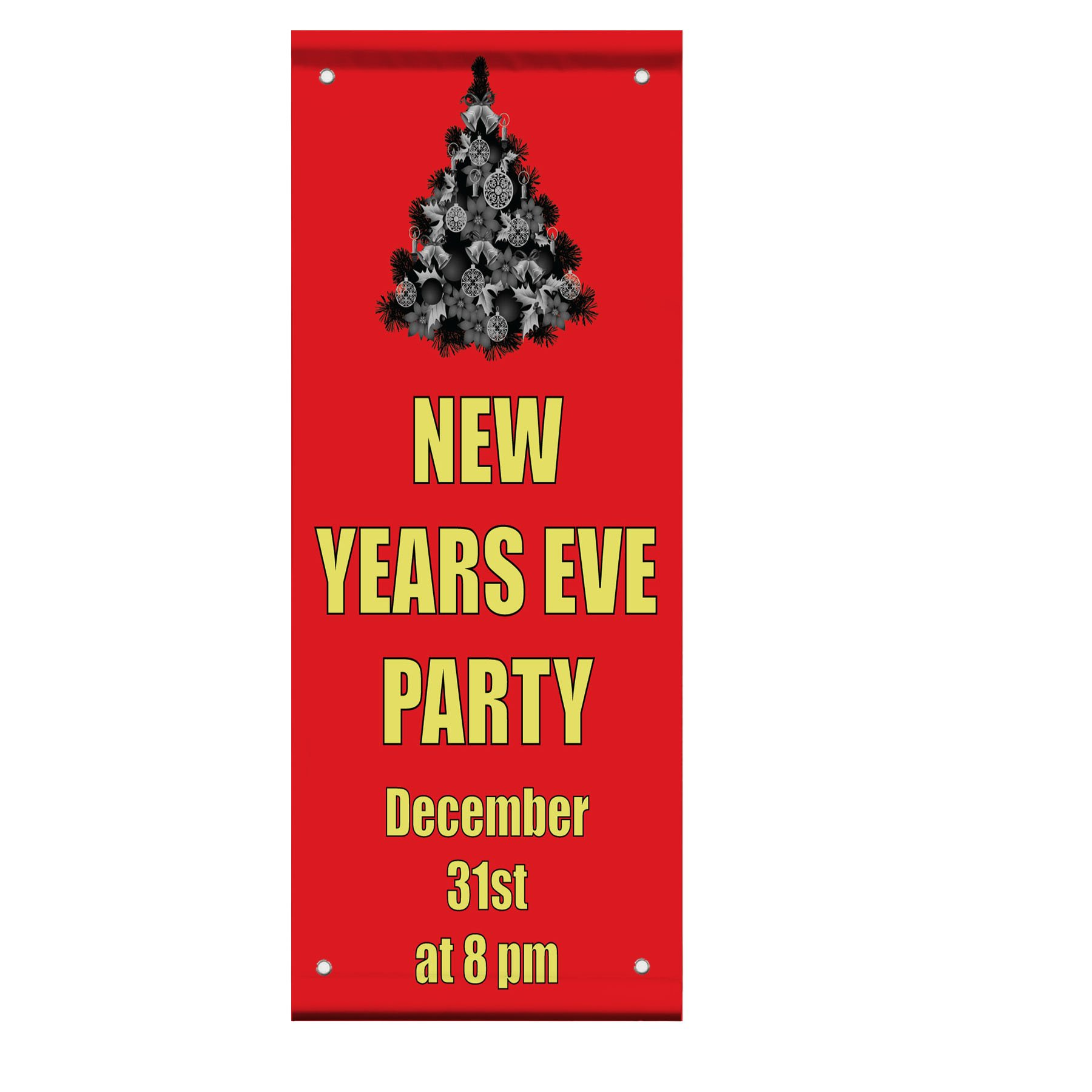 New Years Eve Party Custom Time Double Sided Vertical Pole Banner Sign 18 in x 26 in w/ Wall Bracket