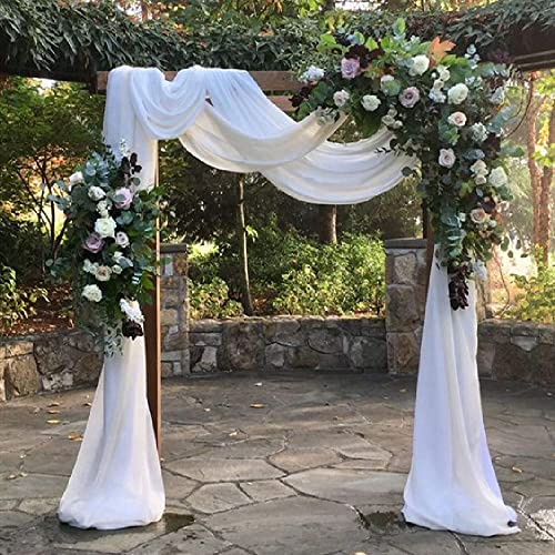 White Wedding Arch Drapes Fabric 3 Panels 6 Yards Sheer Backdrop Curtains - the best window curtain panel for the money