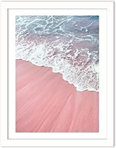 Humble Chic Framed Wall Decor - Fine Art Beach Picture Poster Prints in White Frame for Home Decorations Living Dining Room Bedroom Bathroom Office - Pink Sand Beach Waves, 18x24 Vertical