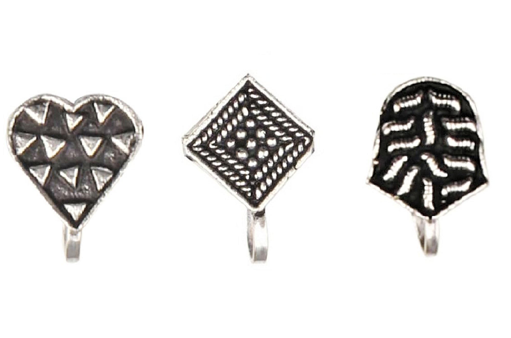 Sansar India Oxidized Bollywood Indian Press Nose Pins Jewelry for Girls and Women (Pack of 3)