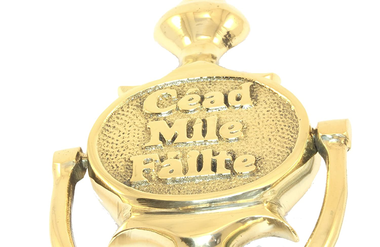 Solid Brass Door Knocker with Cead Mile Failte /& Claddagh Design