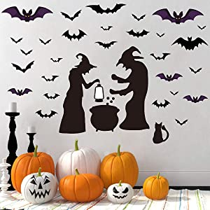 Halloween Decorations Bat Wall Decals Stickers Black Bats Witches Window Clings Decals Halloween Eve Decor Home Window Decoration