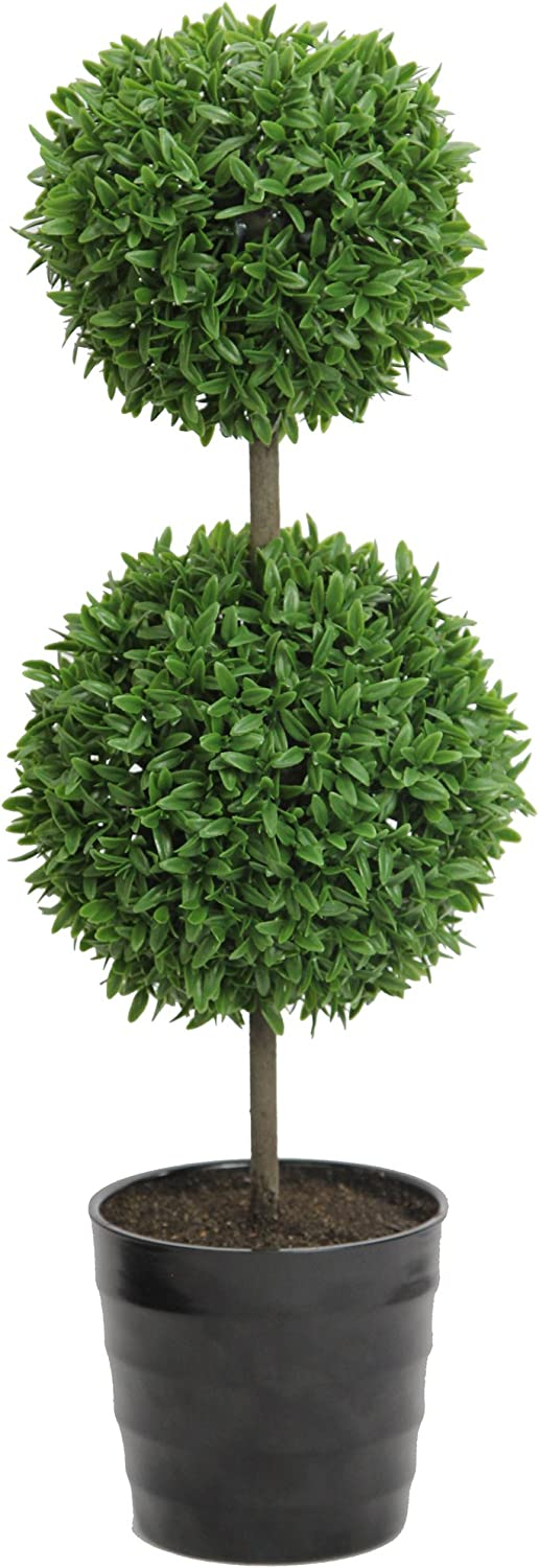 """Admired By Nature GTR7681-GREEN 18"""" Tall Artificial Tabletop English Boxwood Double Ball Shaped Topiary Plant in Plastic Pot, Green, Single Pack"""
