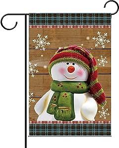 "BAIFUMEN Double Sided| Premium Garden Flag Christmas Snowman Decorative Garden Flags - Weather Resistant & Double Stitched 12.5"""" X18"