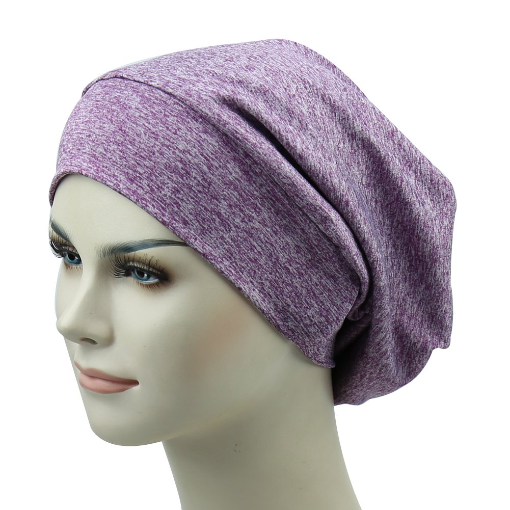 Purple Satin Lined Sleep Cap Curly Hair Beanie Wind Headcover Fashion Head Slouchy Hat