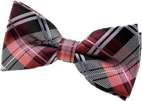 tessuto in microfibra 11,4 cm pre montato e pre annodato elegante papillon elegante scozzese Retreez