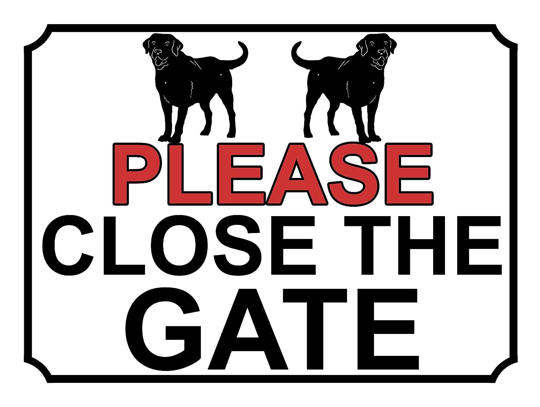 SHAWPRINT PLEASE CLOSE THE GATE METAL SIGN DOG THEME 200MM X 150MM 160H1